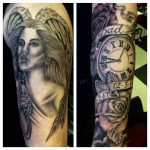 Woman, pocket watch and roses tattoo
