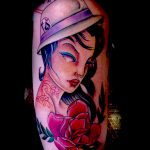 Full colour lady tattoo