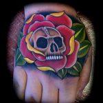 Skull and roses hand tattoo