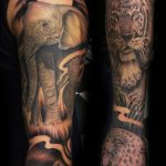 Elephant and tiger tattoo