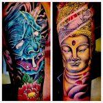 Demon and buddha full colour tattoo sleeves