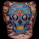 Colour sugar skull tattoo