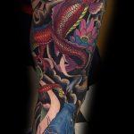 Koi and Japanese dragon tattoo