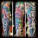 Red dragon and blue flame tattoo