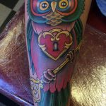 New school owl tattoo