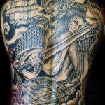 Geisha and warrior back piece