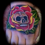 Skull and roses hand tattoo