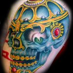 Full colour skull tattoo
