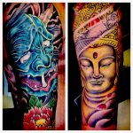 Demon and buddha full colour tattoo sleeves
