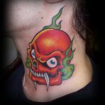 Red skull tattoo
