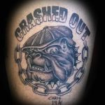 Crashed Out bulldog tattoo