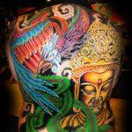 Buddha and bird back piece