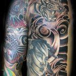 Japanese rib and chest tattoo